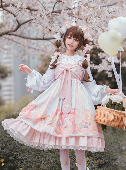 Dogs Donuts Series JSK Printing Sweet Lolita Sling Dress And Doll Collar Shirt Set