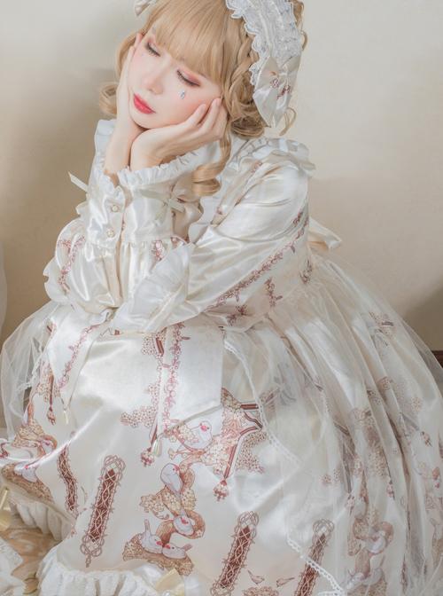 Finch And Cream Flower Series OP Sweet Lolita Long Sleeve Dress