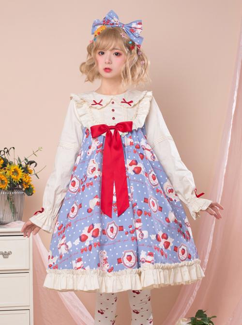 Strawberry Milk Bottle Series OP Bowknot Sweet Lolita Long Sleeve Dress