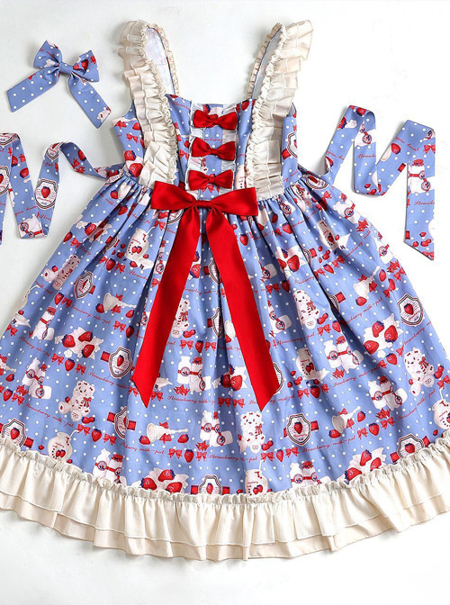 Strawberry Milk Bottle Series JSK Bowknot Sweet Lolita Sling Dress