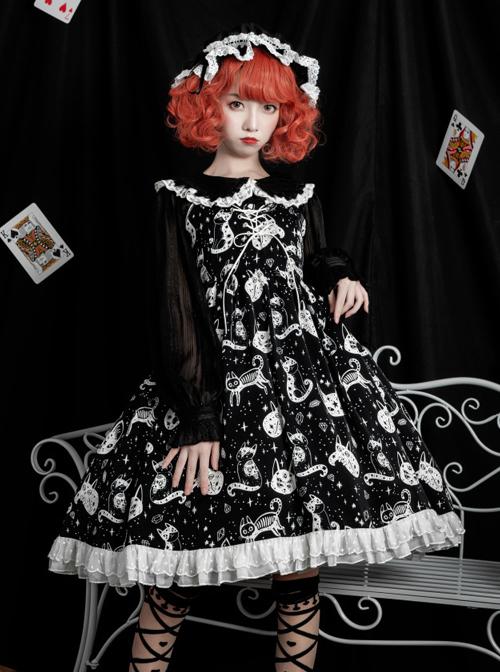 Diamond Star Meow Series Darkness Gothic Lolita Sling Dress