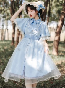 Iris Flower Series OP Butterfly Sleeve Embroidery Blue Classic Lolita Short Sleeve Dress