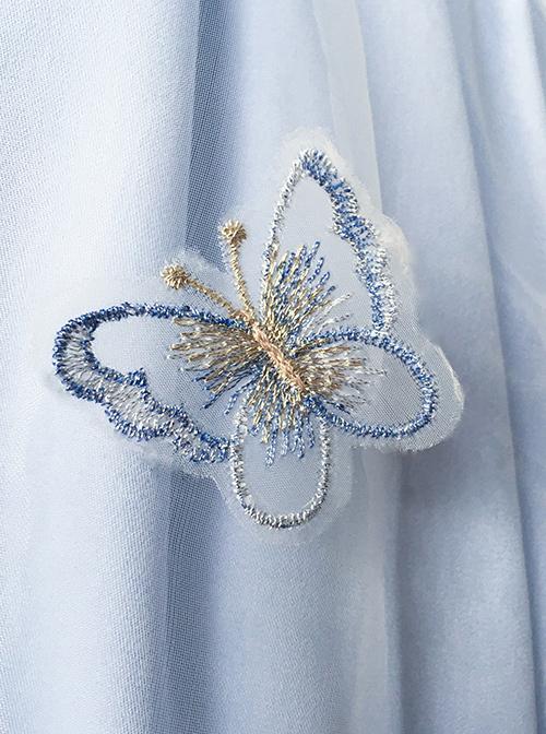 Iris Flower Series OP Butterfly Sleeve Embroidery Blue Classic Lolita Short Sleeve Dress