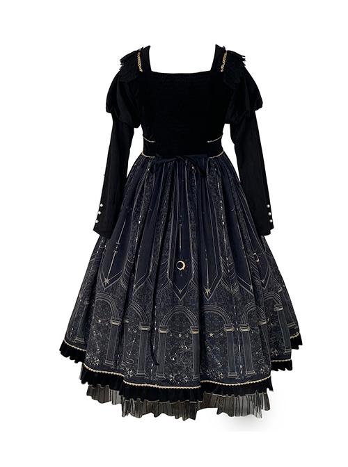 Starshine Stone Series OP Classic Lolita Velour Printing Long Sleeve Dress