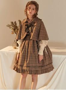 Little Detective Series JSK School Lolita Brown Plaid Sling Dress And Cloak