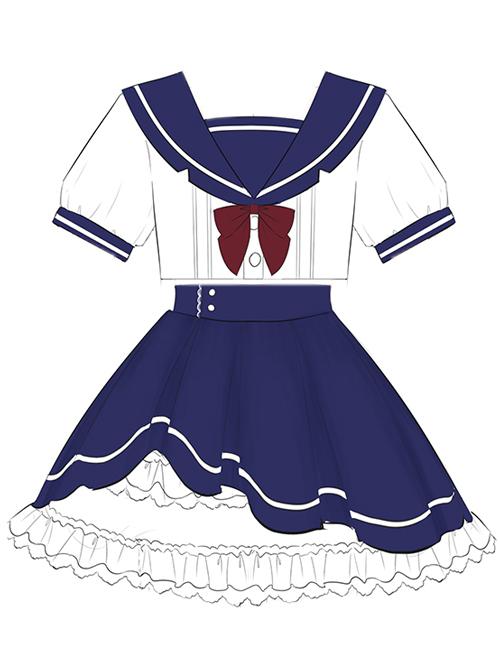 Blue And White Splicing School Lolita Short Sleeve Shirt And Skirt Set