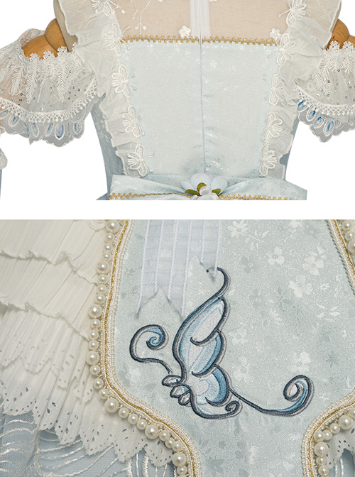 Light Blue Butterfly Classic Lolita Gorgeous Tea Party Dress