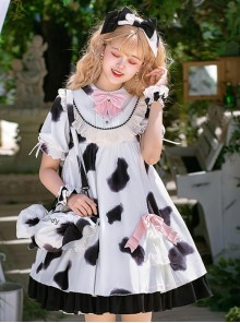 Dairy Cattle Puffs Series OP Cute Printing Sweet Lolita Short Sleeve Dress