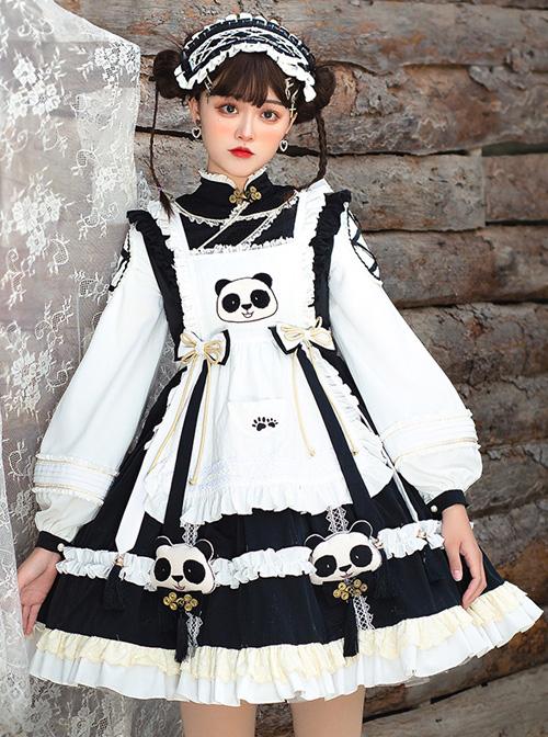 Panda Buns Shop Series OP Cute Shop Assistant Clothes Sweet Lolita Retro Long Sleeve Dress