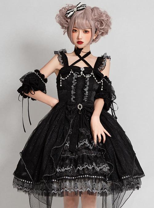 Night Elf Series JSK Black Lace Retro Elegant Gothic Lolita Sling Dress