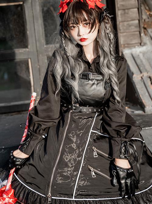 Dimly Light Series JSK Rock Cyberpunk Gothic Lolita Sling Dress
