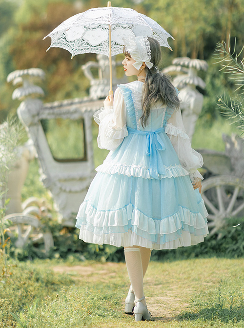 Starry Night Insomnia Series OP Pure Color Sweet Lolita Long Sleeve Dress