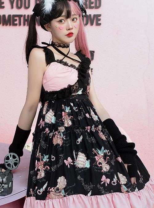 The Bird In Prison Series Splicing Hem Sweet Lolita Sling Dress