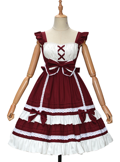 Candy House Series JSK Pure Color Bowknot Sweet Lolita Sling Dress