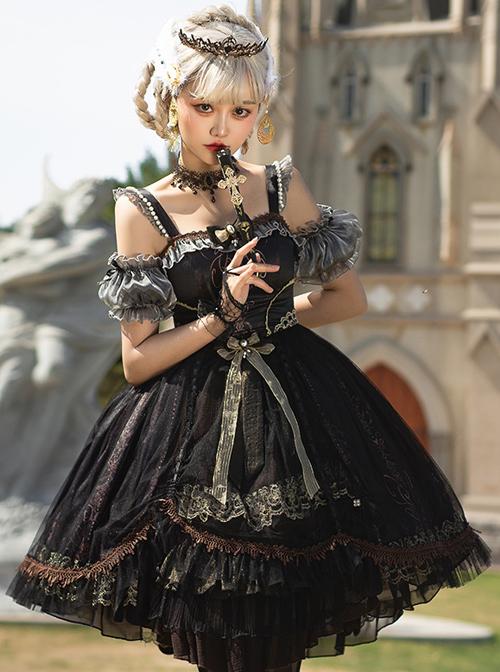 Day-night Carol Series JSK Dark Retro Black Gold Gothic Lolita Sling Dress
