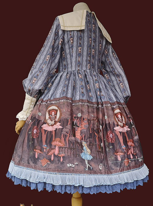 Alice Dark Forest Series OP Printing Classic Lolita Long Sleeve Dress