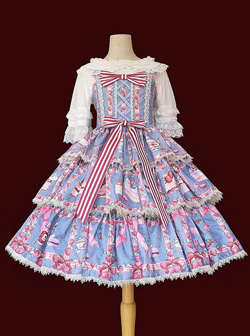 Strawberry Afternoon Tea Series JSK Cake Hem Sweet Lolita Sling Dress Design 2