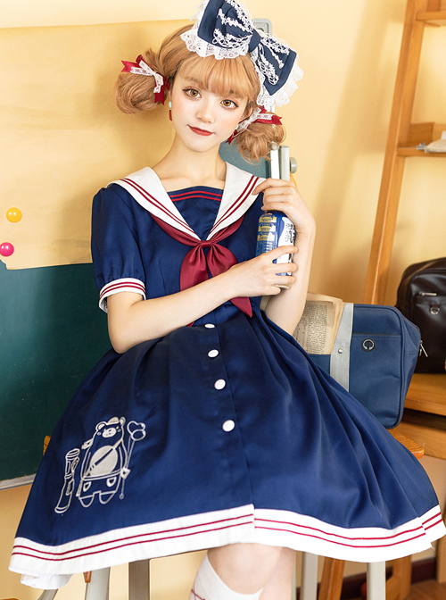 Little Bear Postman Series Navy Collar Embroidery Hem School Lolita Short Sleeve Dress