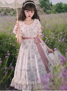 Everlasting Love Series OP Daily Elegant Flowers Printing Classic Lolita Short Sleeve Dress