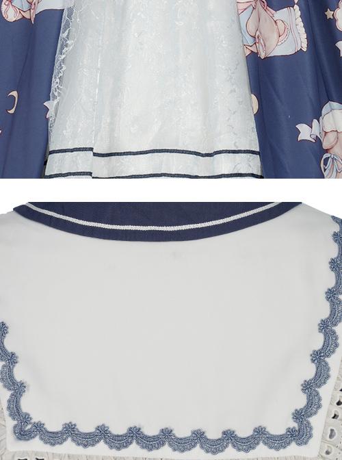 Good Night Fairy Tale Series OP Navy Style Sweet Lolita Short Sleeve Dress