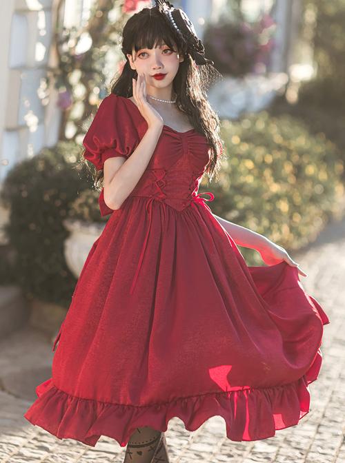 Fog Lights Series OP Retro Elegant Pure Color Classic Lolita High Waist Short Sleeve Dress