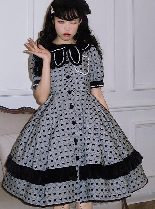 Black Film Series OP Retro Modern Girl Classic Lolita Short Sleeve Dress