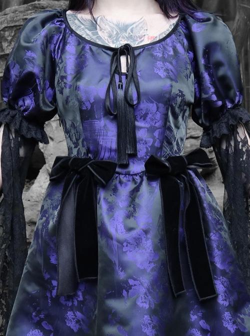 Tassel Binding Band Bowknot Purple Jacquard Gothic Puff Sleeve Dress