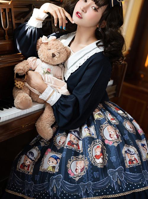 Bear Gallery Series Cute Printing School Lolita Top And Skirt Set