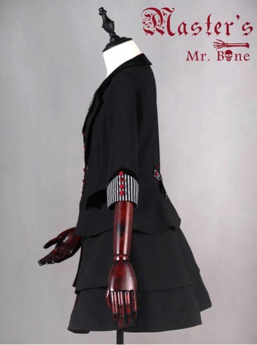 Mr.Bone black sleeve long section of the coat