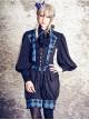 Lolita blue rose vest pants full Set