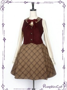 Wine Red Vest And Brown Half Skirt Lolita Full-set