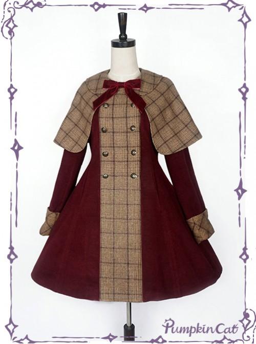 Detective Style Wine Red Coat Brown Cloak Lolita Full-set