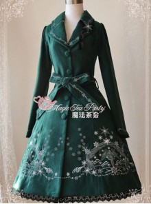 Lolita Dark Green The Mass Of Winter Embroidery Overcoat