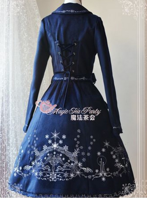 Lolita Navy Blue The Mass Of Winter Embroidery Overcoat