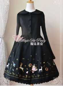 Christmas Morning Light Embroidery Black Classic Lolita Overcoat