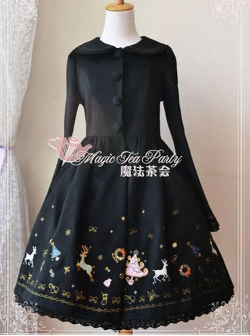 Christmas Morning Light Embroidery Black Classic Lolita Overcoat