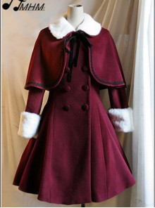 Wine Red Woolen Skirt Hem Classic Lolita Long Coat