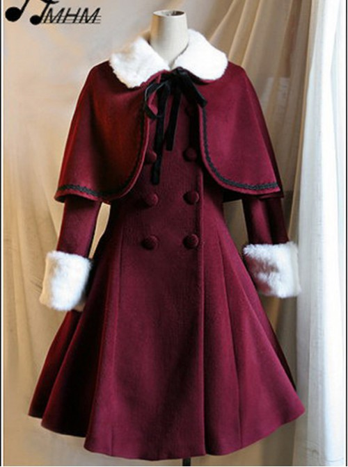 Wine Red Woolen Skirt Hem Classic Lolita Long Coat
