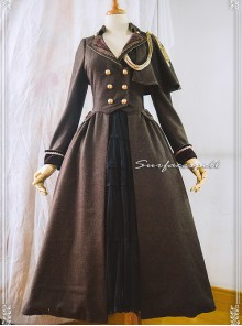 One-shoulder Cloak Riding Style Brown Classic Lolita Coat