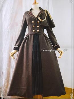 One-shoulder Cloak Riding Style Brown Classic Lolita Coat