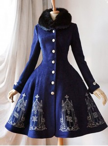 Silver Thread Embroidered Navy Blue Classic Lolita Wool Coat
