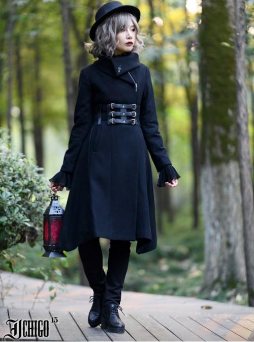 Cold Winter Black Gothic Lolita Womens Woolen Coat