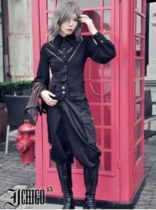 Knight Style Black Chiffon Gothic Lolita Shirt