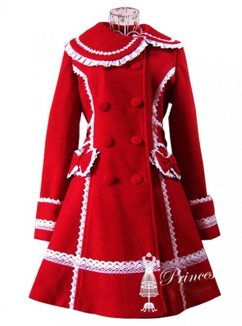 White Lace Red Woolen Sweet Lolita Coat