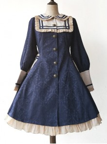 College Style Doll Collar Dark Blue Lolita Wind Coat