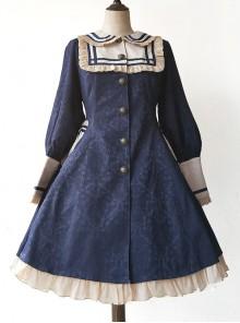 College Style Doll Collar Dark Blue Lolita Wind Coat
