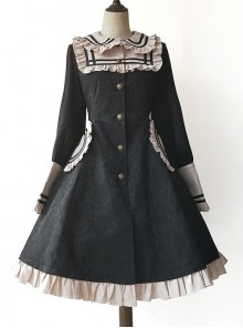College Style Doll Collar Black Lolita Wind Coat