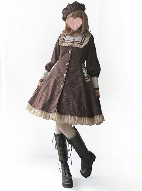 College Style Doll Collar Brown Lolita Wind Coat