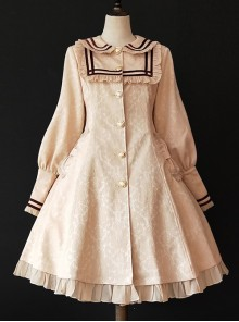 College Style Doll Collar Apricot Color Lolita Wind Coat