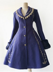 Cinderella Embroidery Version Dark Blue Lolita Winter Thickening And Cashmere Overcoat